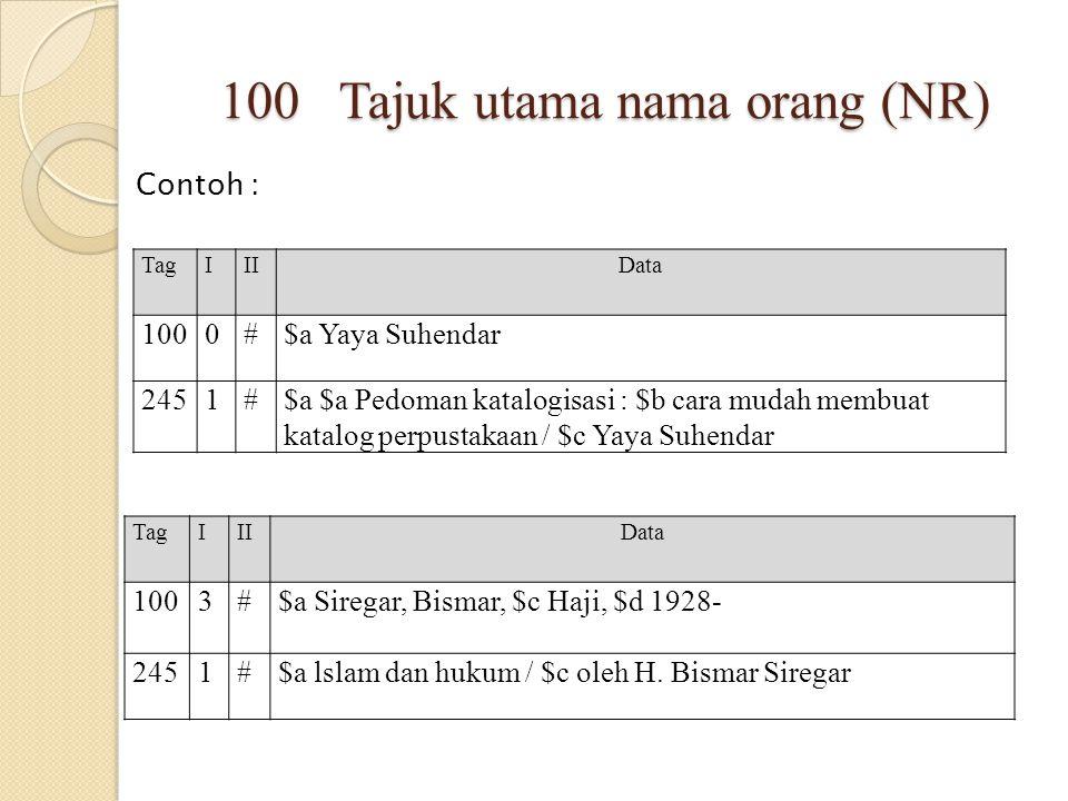 100 Tajuk utama nama orang (NR)