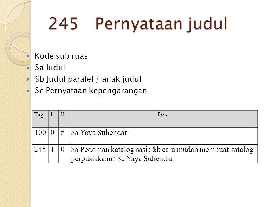 245 Pernyataan judul Kode sub ruas $a Judul