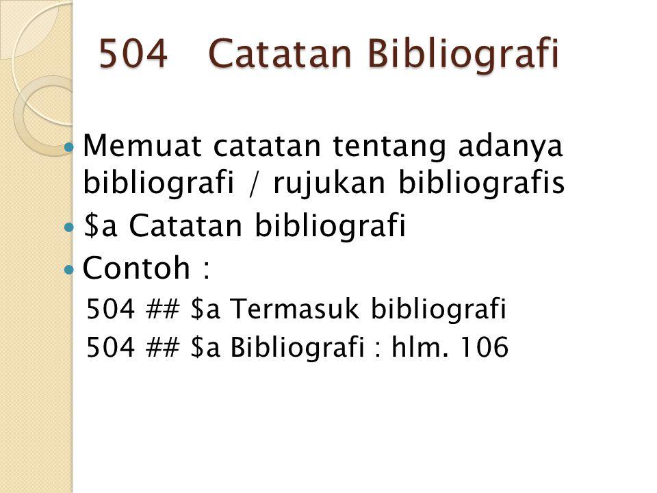 504 Catatan Bibliografi Memuat catatan tentang adanya bibliografi / rujukan bibliografis. $a Catatan bibliografi.