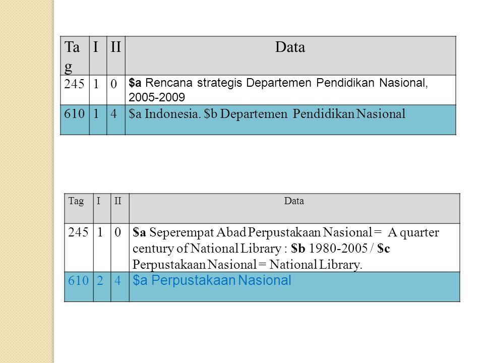 Tag I. II. Data. 245. 1. $a Rencana strategis Departemen Pendidikan Nasional, 2005-2009. 610.