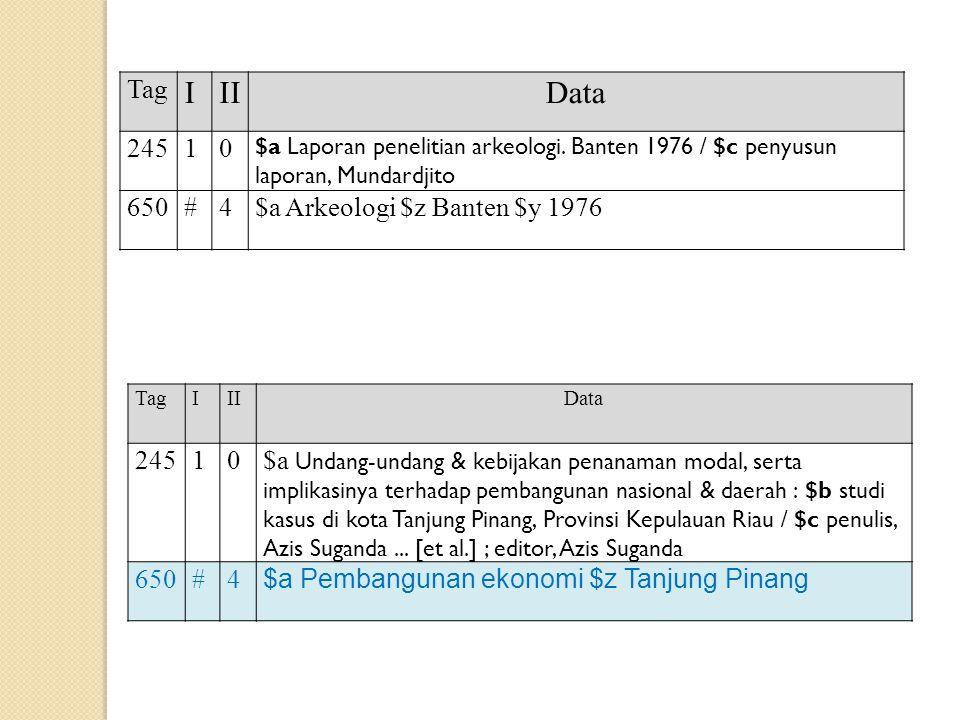 I II Data Tag 245 1 650 # 4 $a Arkeologi $z Banten $y 1976 245 1
