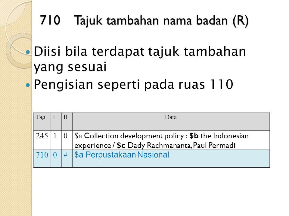 710 Tajuk tambahan nama badan (R)
