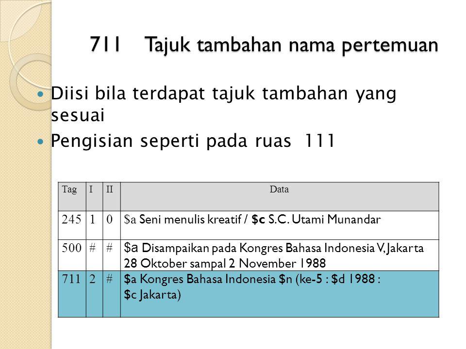 711 Tajuk tambahan nama pertemuan