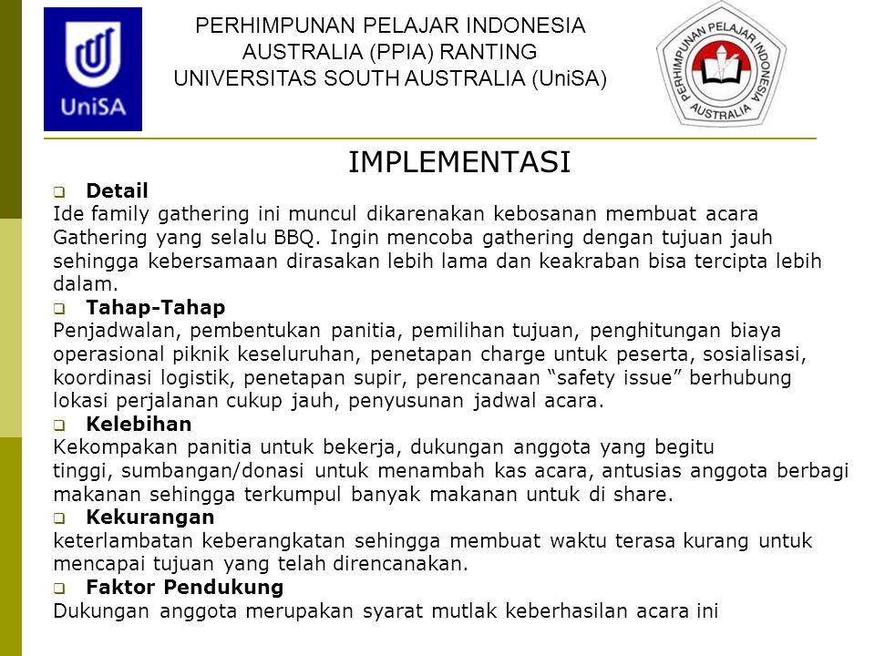 IMPLEMENTASI PERHIMPUNAN PELAJAR INDONESIA AUSTRALIA (PPIA) RANTING