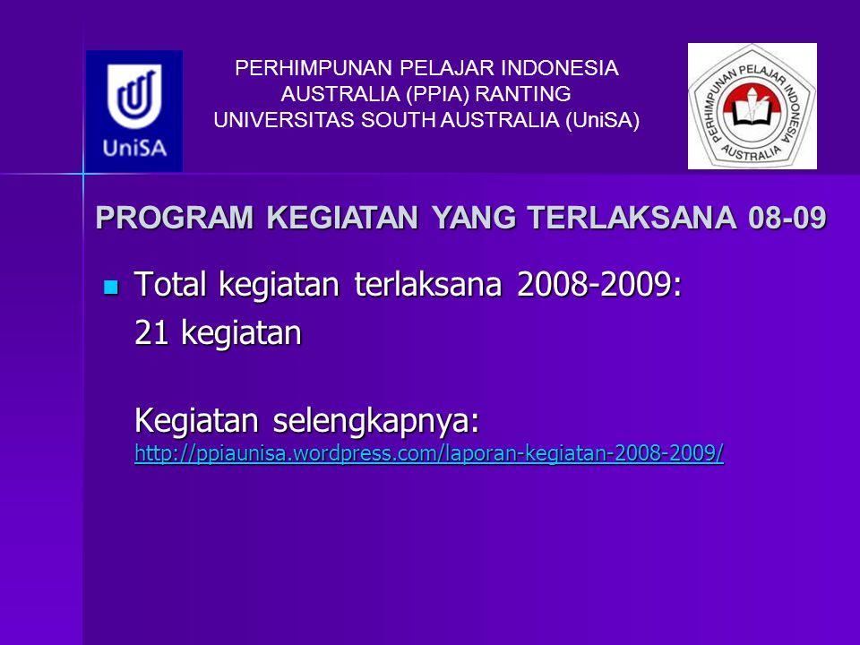 Total kegiatan terlaksana 2008-2009: 21 kegiatan