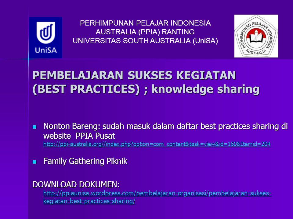 PEMBELAJARAN SUKSES KEGIATAN (BEST PRACTICES) ; knowledge sharing