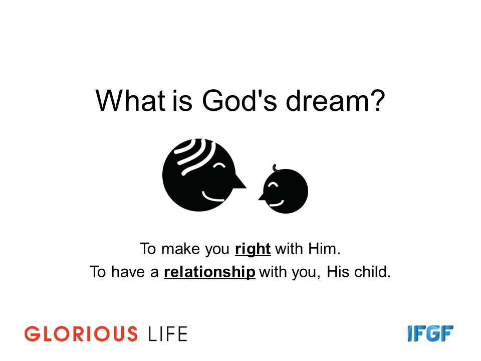What is God s dream To make you right with Him.