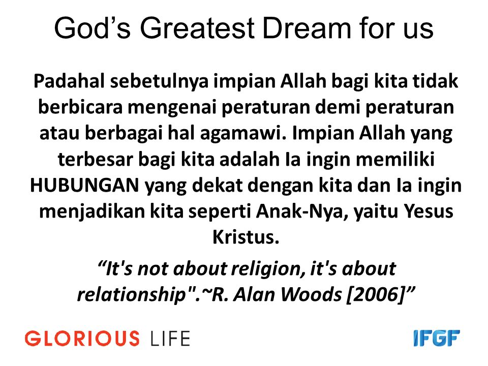 God's Greatest Dream for us
