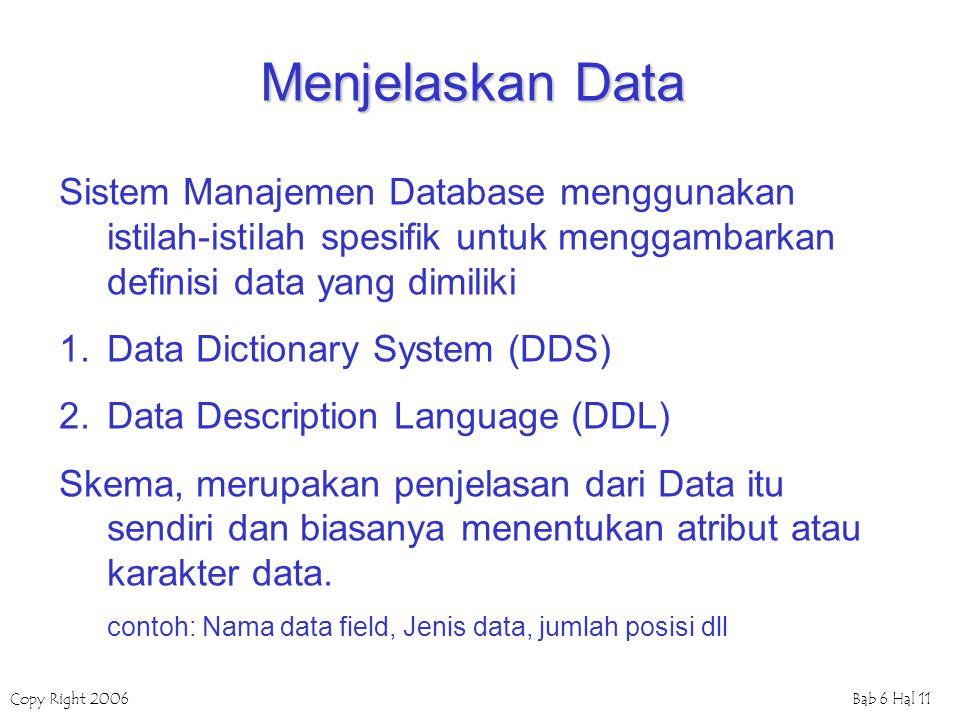 Menjelaskan Data Sistem Manajemen Database menggunakan istilah-istilah spesifik untuk menggambarkan definisi data yang dimiliki.