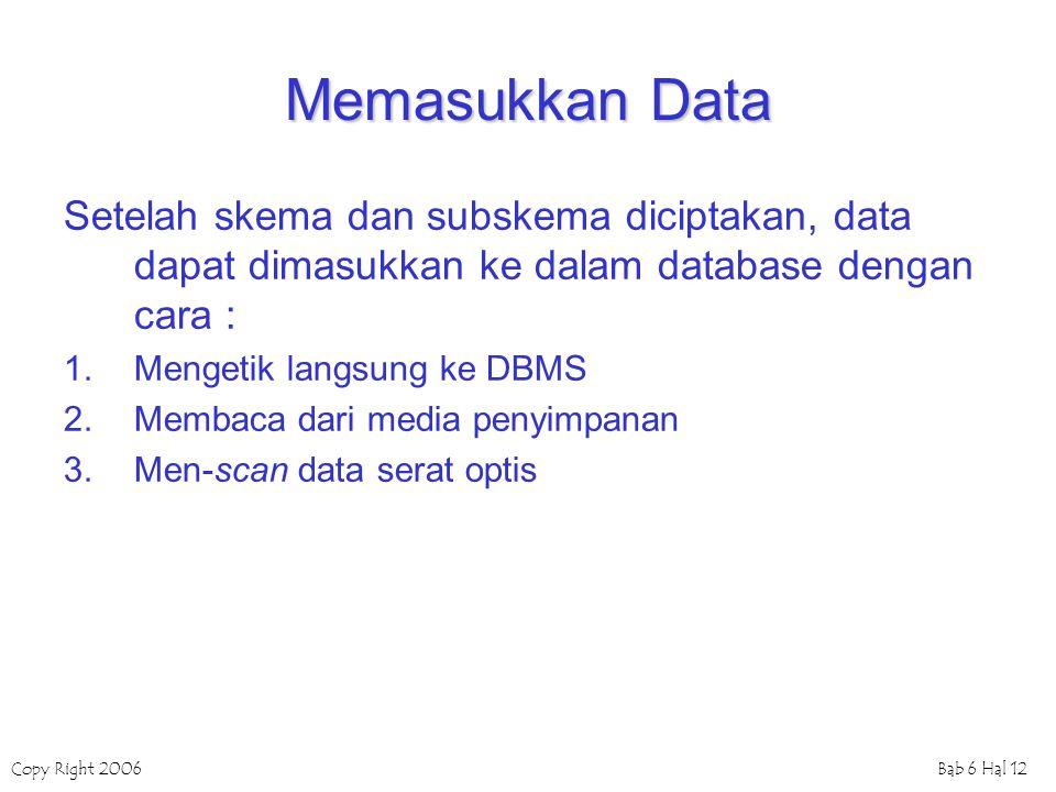 Memasukkan Data Setelah skema dan subskema diciptakan, data dapat dimasukkan ke dalam database dengan cara :