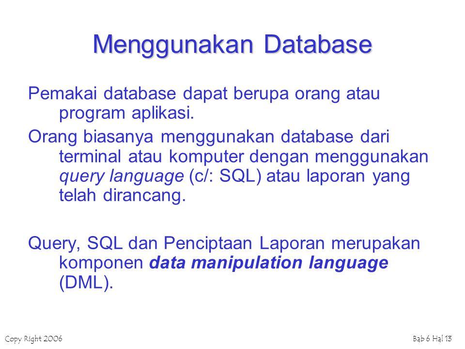 Menggunakan Database Pemakai database dapat berupa orang atau program aplikasi.