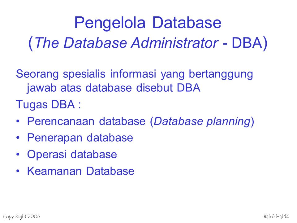 Pengelola Database (The Database Administrator - DBA)