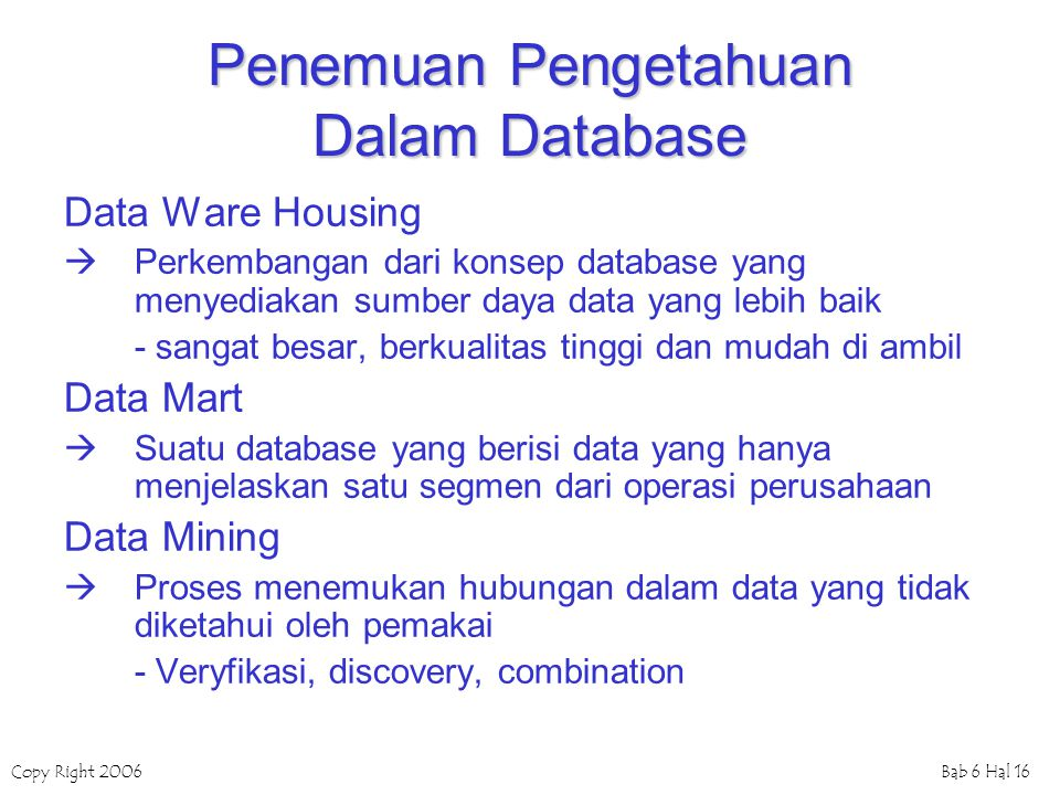 Penemuan Pengetahuan Dalam Database