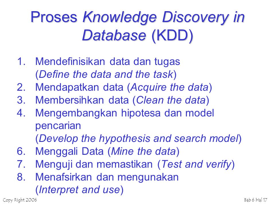 Proses Knowledge Discovery in Database (KDD)