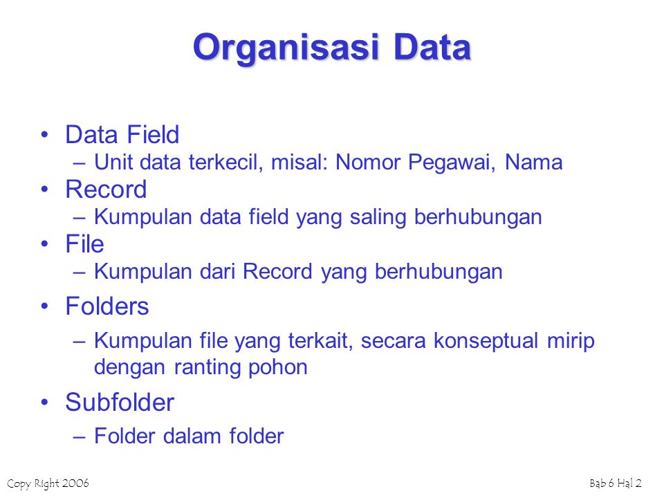 Organisasi Data Data Field Record File Folders Subfolder
