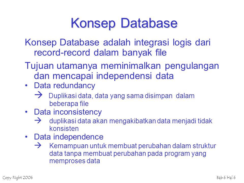 Konsep Database Konsep Database adalah integrasi logis dari record-record dalam banyak file.