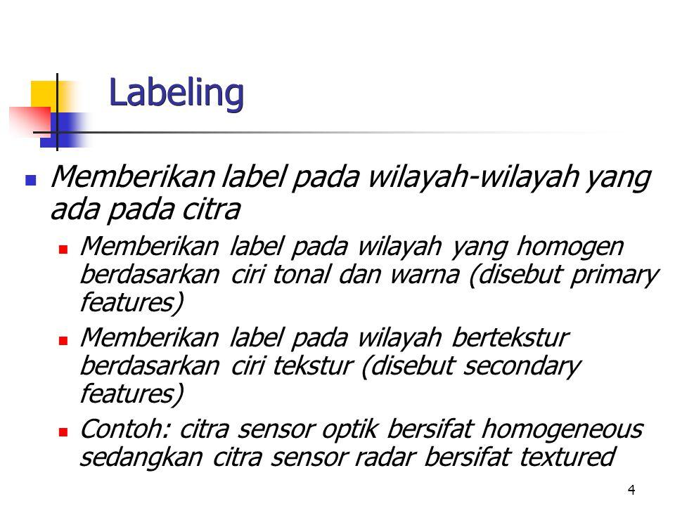 Labeling Memberikan label pada wilayah-wilayah yang ada pada citra