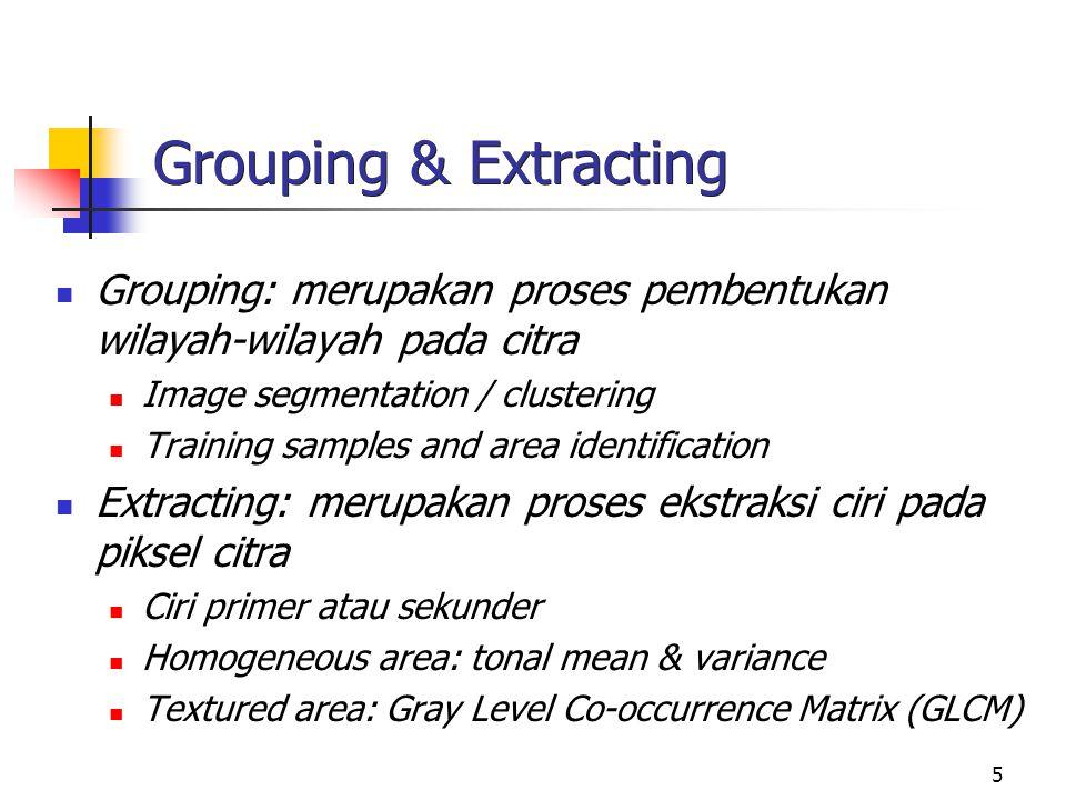 Grouping & Extracting Grouping: merupakan proses pembentukan wilayah-wilayah pada citra. Image segmentation / clustering.
