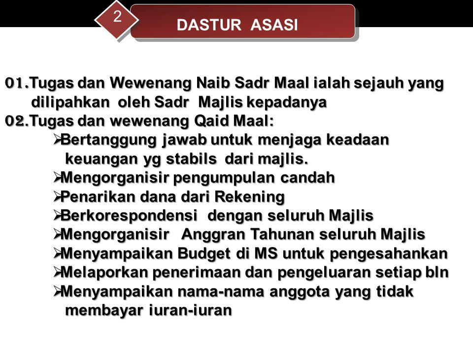 DASTUR ASASI 2. 01.Tugas dan Wewenang Naib Sadr Maal ialah sejauh yang. dilipahkan oleh Sadr Majlis kepadanya.