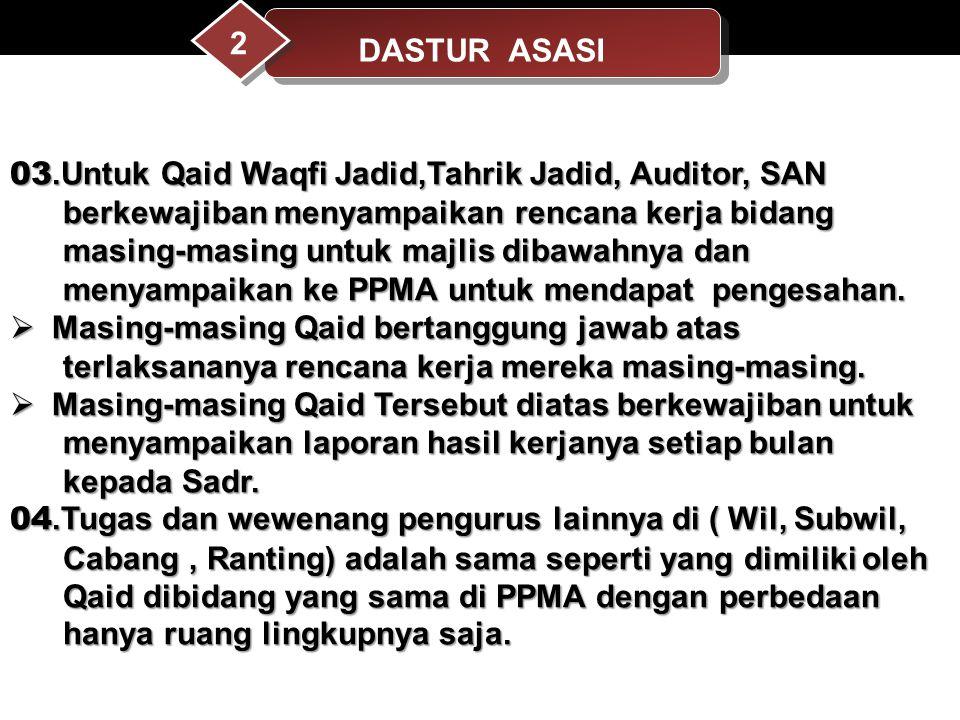 DASTUR ASASI 2. 03.Untuk Qaid Waqfi Jadid,Tahrik Jadid, Auditor, SAN. berkewajiban menyampaikan rencana kerja bidang.