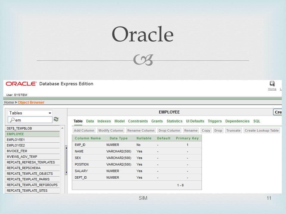 Oracle SIM
