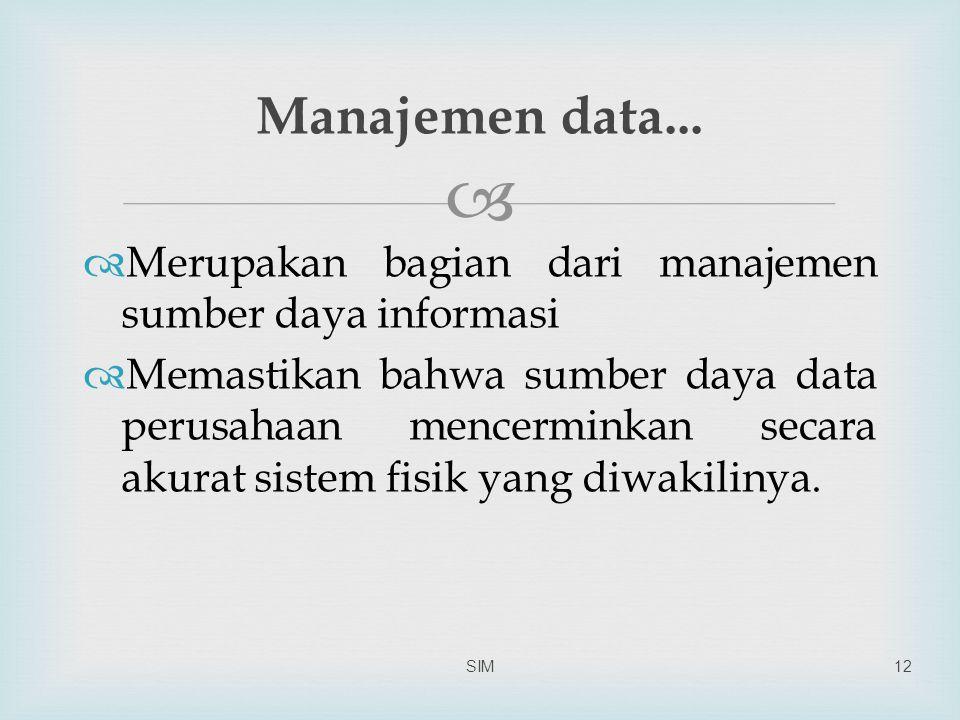 Manajemen data... Merupakan bagian dari manajemen sumber daya informasi.