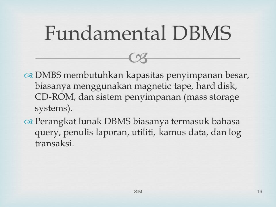 Fundamental DBMS