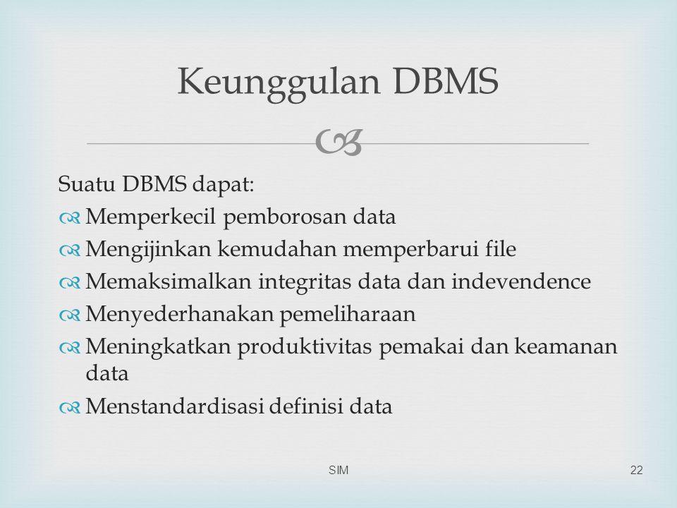 Keunggulan DBMS Suatu DBMS dapat: Memperkecil pemborosan data