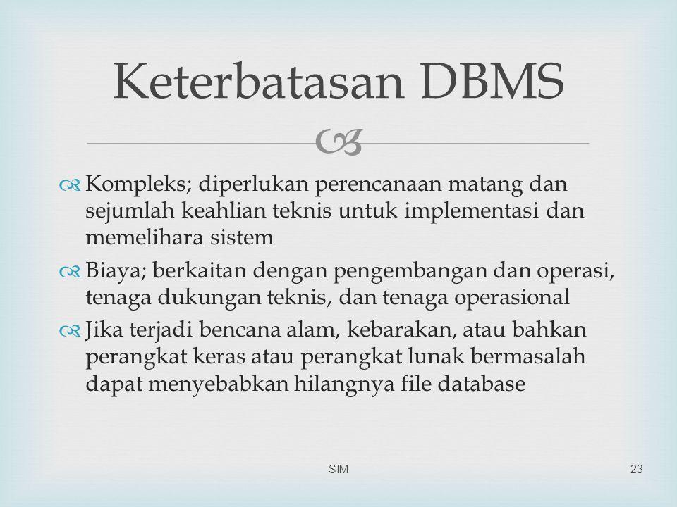 Keterbatasan DBMS Kompleks; diperlukan perencanaan matang dan sejumlah keahlian teknis untuk implementasi dan memelihara sistem.