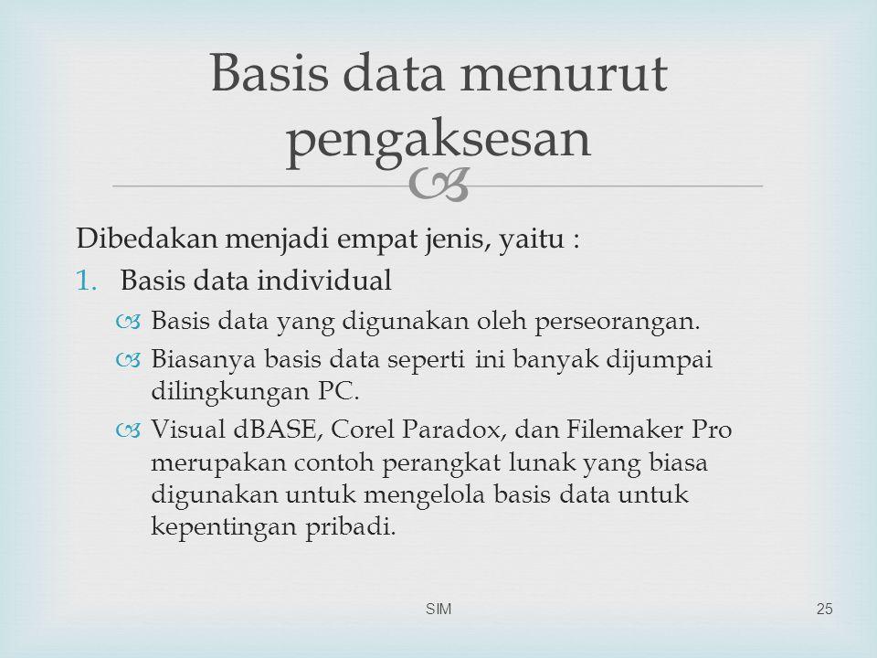 Basis data menurut pengaksesan