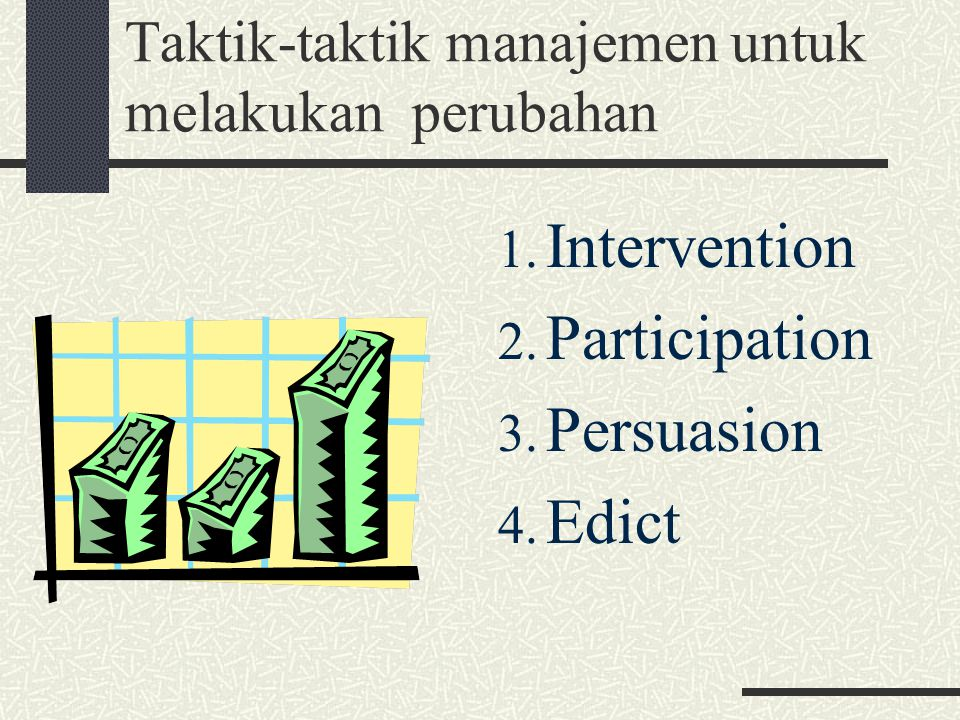 Taktik-taktik manajemen untuk melakukan perubahan