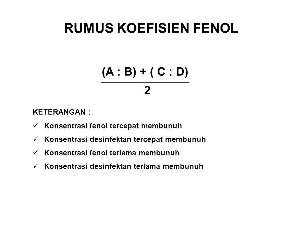 RUMUS KOEFISIEN FENOL (A : B) + ( C : D) 2 KETERANGAN :