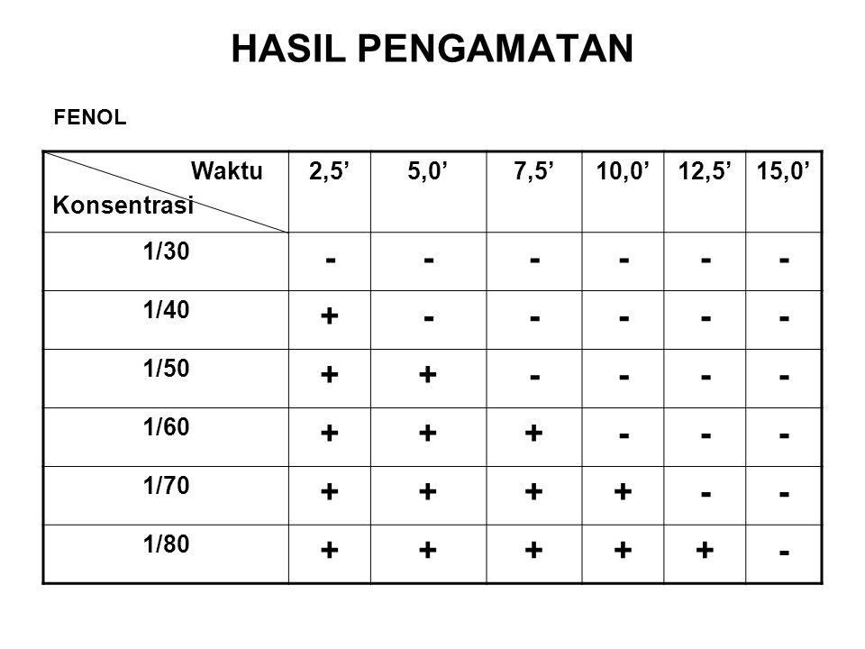 HASIL PENGAMATAN - + Waktu Konsentrasi 2,5' 5,0' 7,5' 10,0' 12,5'