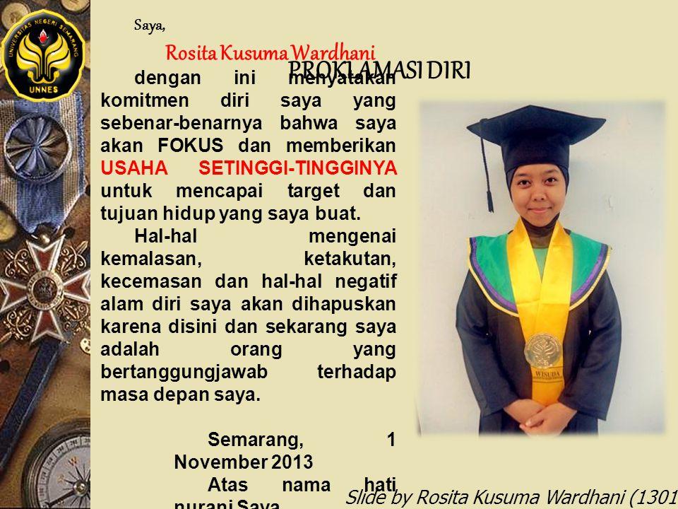 PROKLAMASI DIRI Rosita Kusuma Wardhani Saya,