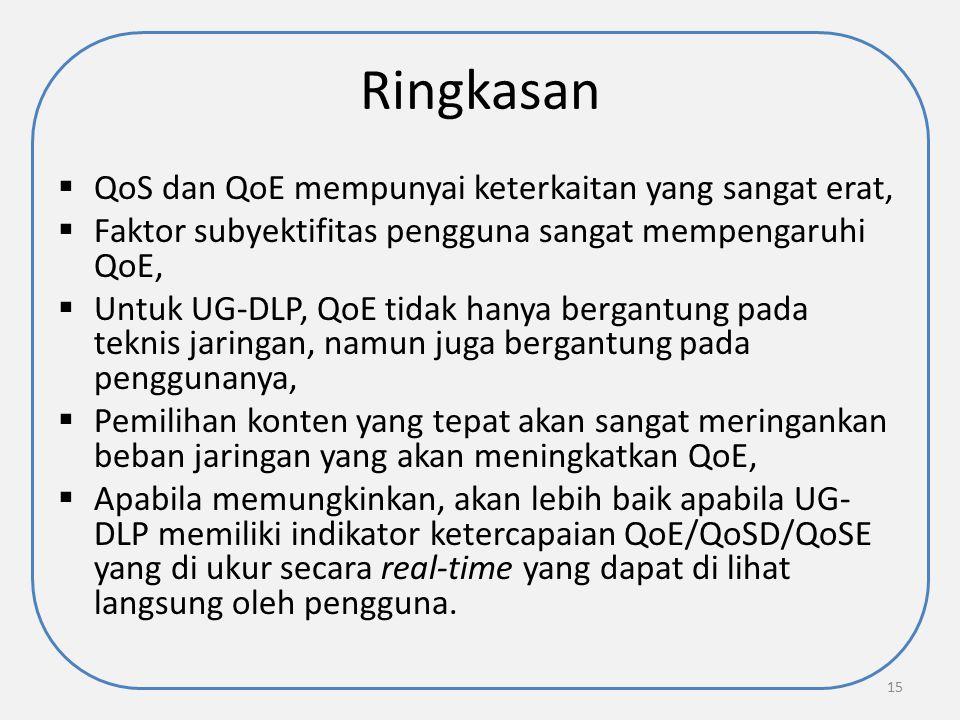Ringkasan QoS dan QoE mempunyai keterkaitan yang sangat erat,