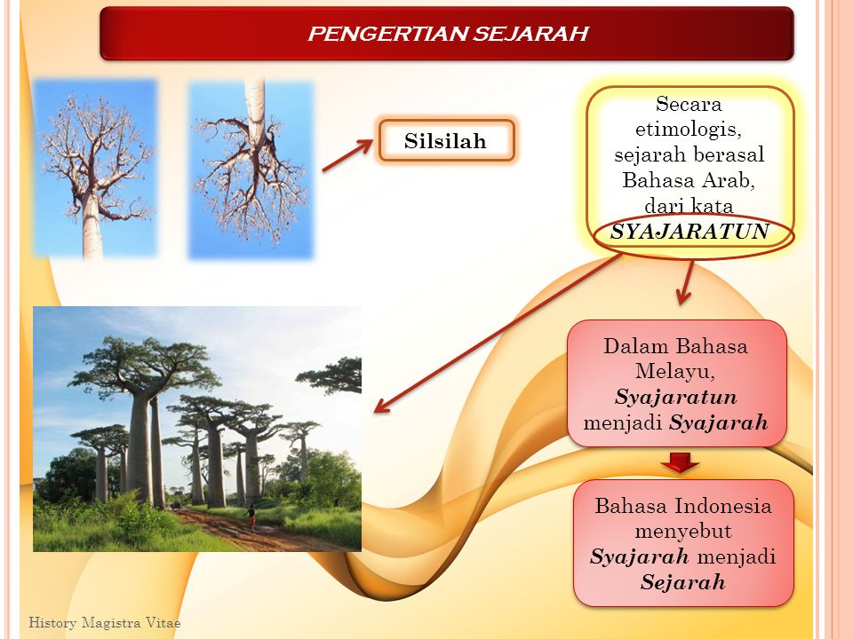 Secara etimologis, sejarah berasal Bahasa Arab, dari kata SYAJARATUN