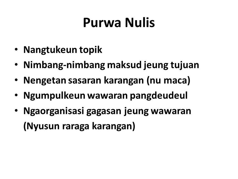 Purwa Nulis Nangtukeun topik Nimbang-nimbang maksud jeung tujuan