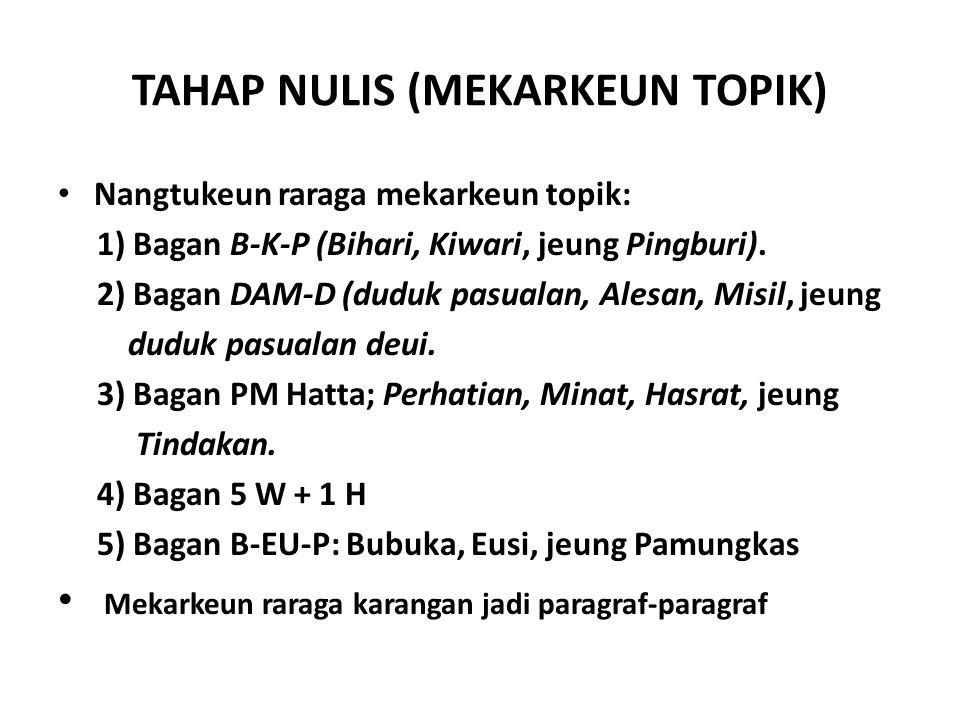 TAHAP NULIS (MEKARKEUN TOPIK)