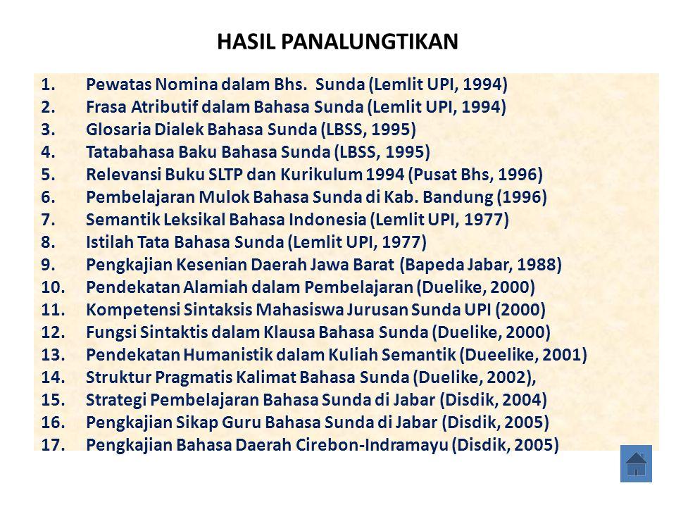 HASIL PANALUNGTIKAN Pewatas Nomina dalam Bhs. Sunda (Lemlit UPI, 1994)