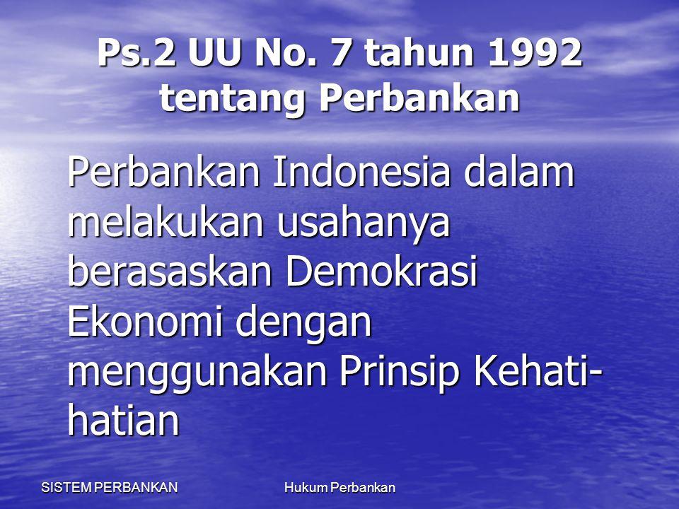 Ps.2 UU No. 7 tahun 1992 tentang Perbankan
