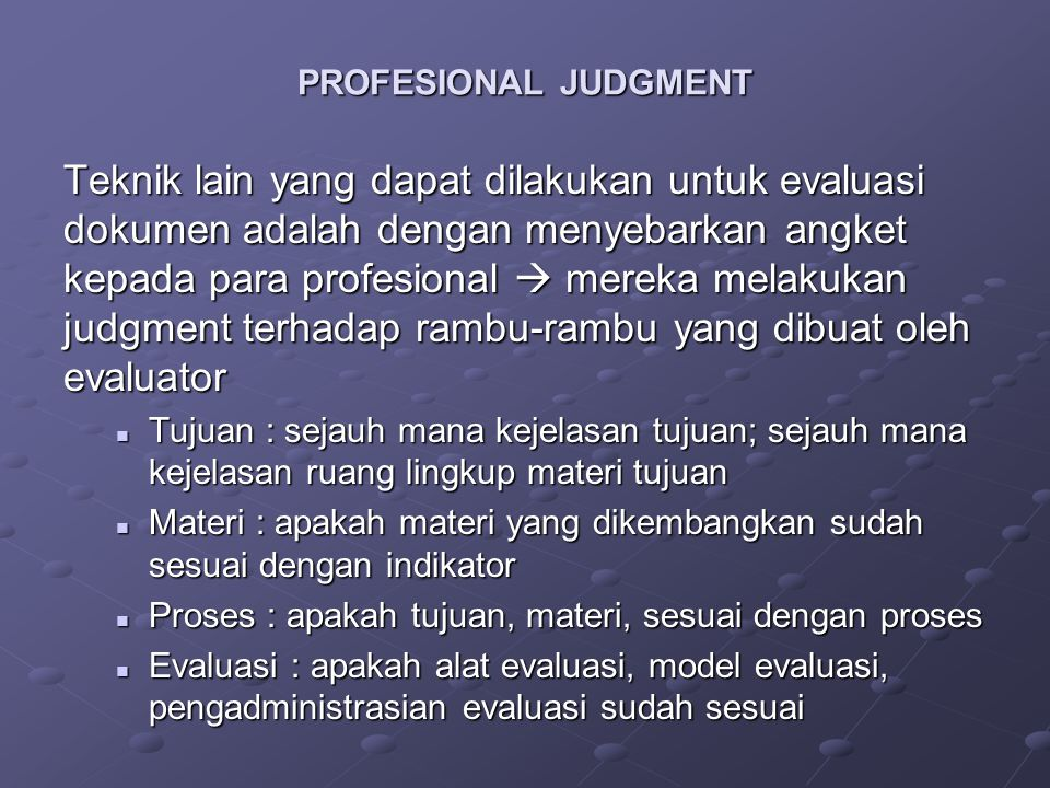 PROFESIONAL JUDGMENT