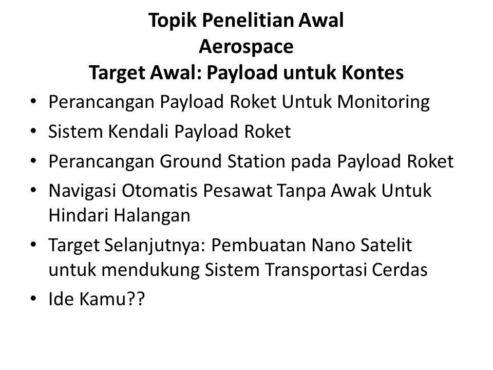 Topik Penelitian Awal Aerospace Target Awal: Payload untuk Kontes