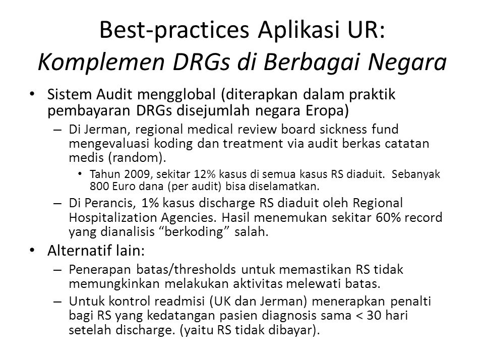 Best-practices Aplikasi UR: Komplemen DRGs di Berbagai Negara