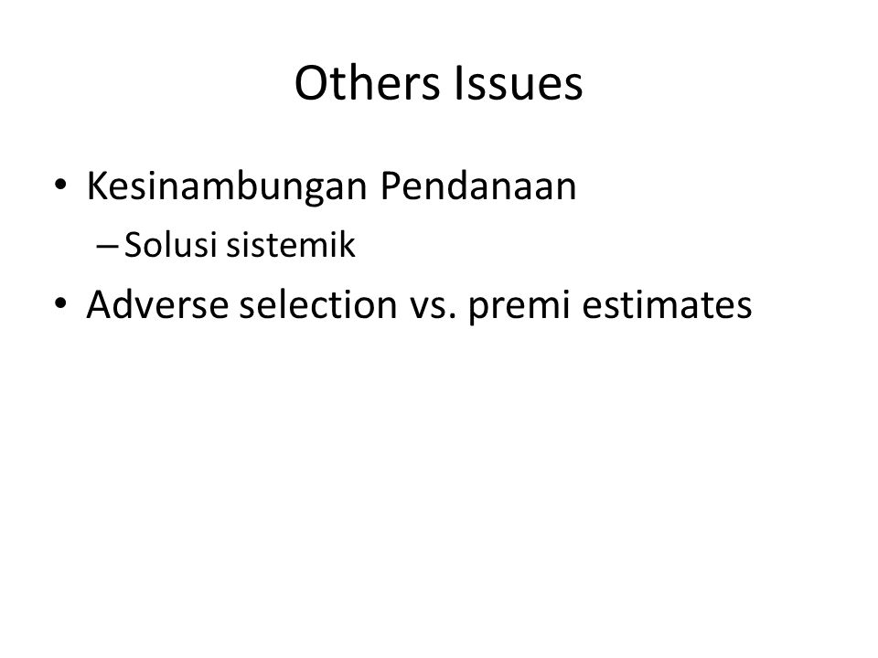Others Issues Kesinambungan Pendanaan