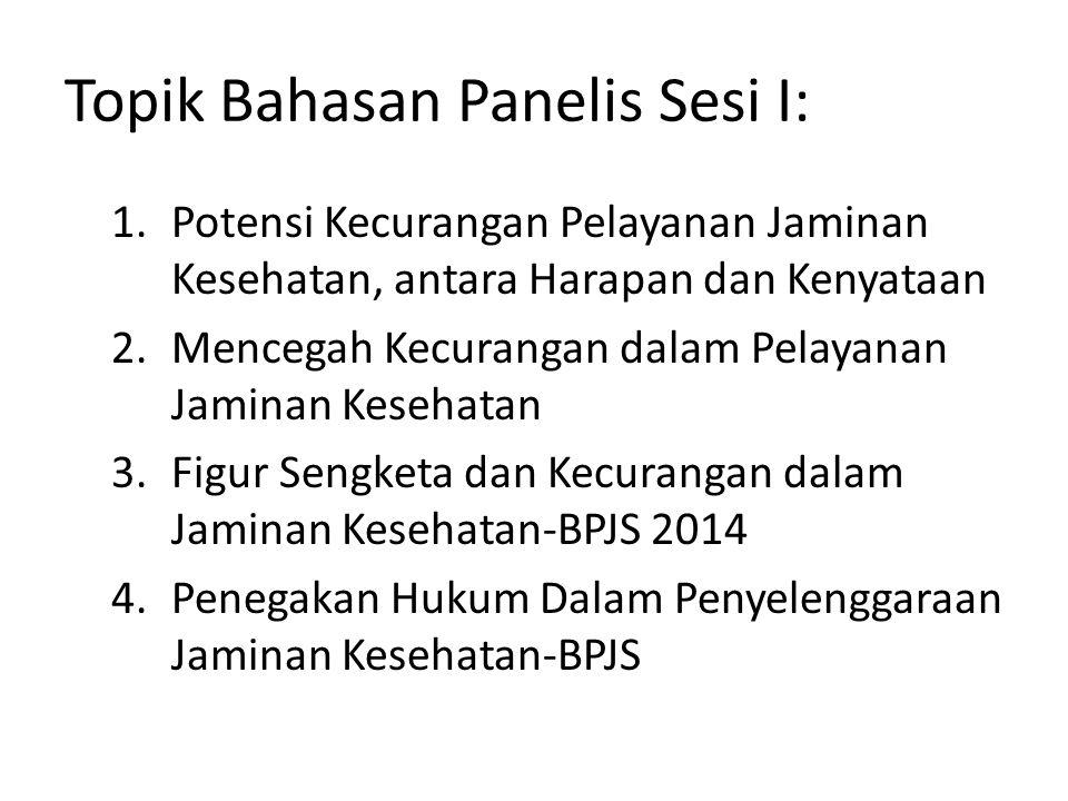 Topik Bahasan Panelis Sesi I: