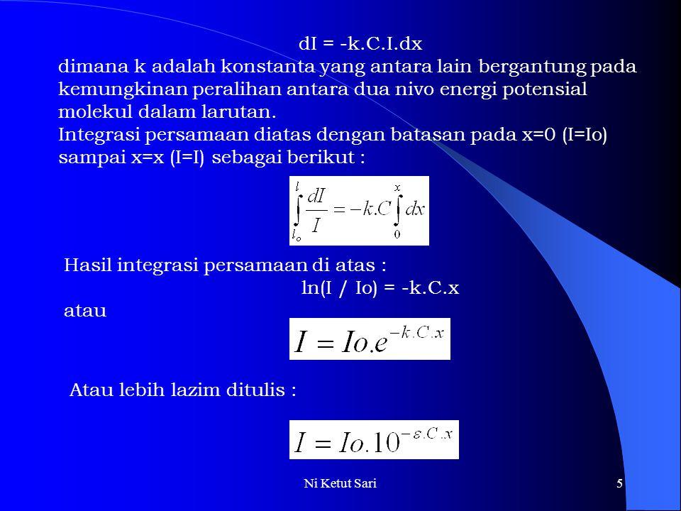 Hasil integrasi persamaan di atas : ln(I / Io) = -k.C.x atau