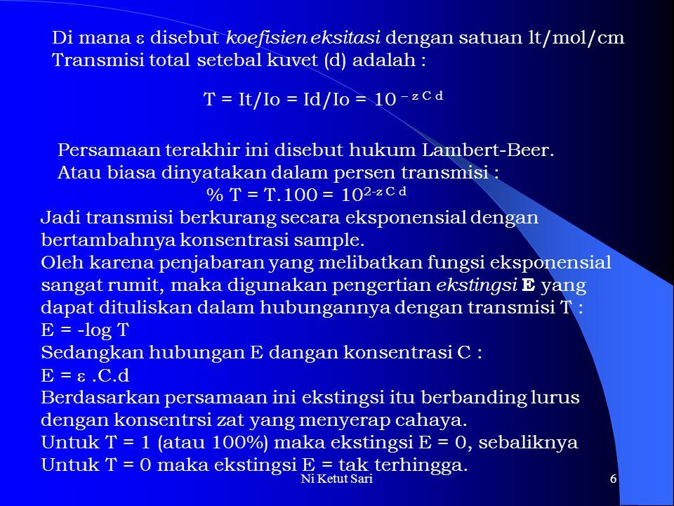 Di mana  disebut koefisien eksitasi dengan satuan lt/mol/cm