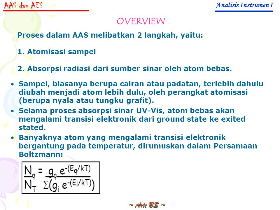 AAS dan AES OVERVIEW Analisis Instrumen I ~ Arie BS ~