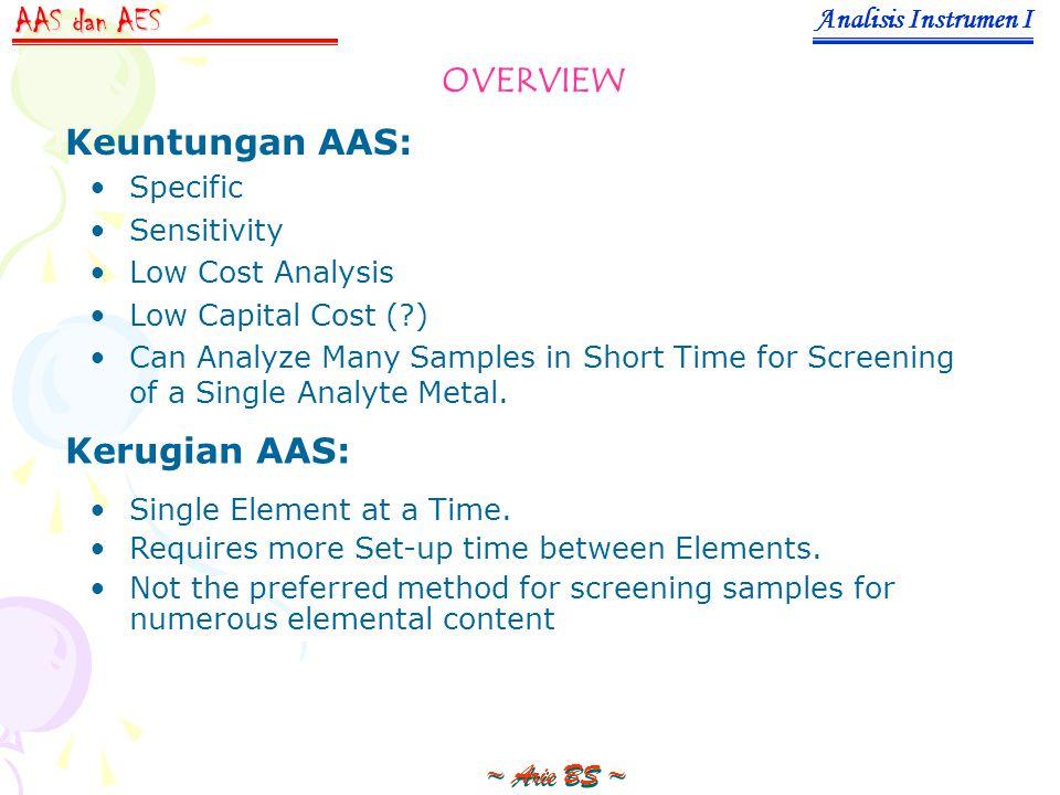 AAS dan AES OVERVIEW Keuntungan AAS: Kerugian AAS: