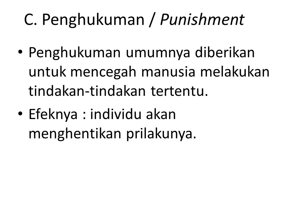 C. Penghukuman / Punishment